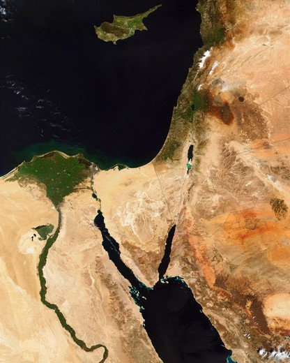 Stock Photo: 4389-1574 Middle East Seen by MODIS