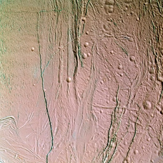 Cracks in the Surface of Enceladus : Stock Photo