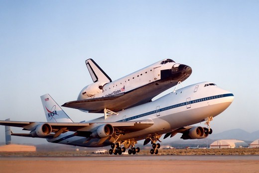 Stock Photo: 4389-713 Space Shuttle Endeavour and 747 Taking Off