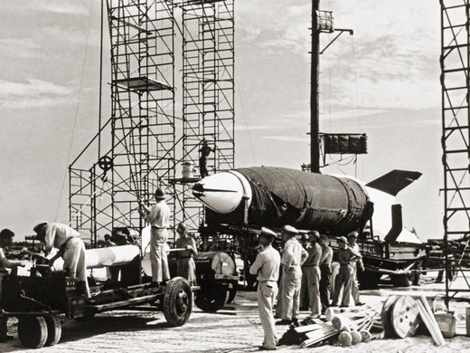 Stock Photo: 4393-124 V-2 Missile Being Readied for Launch