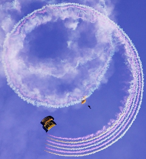 Stock Photo: 4397-217 U.S. Navy Parachute Team Leap Frogs Spiral With Smoke into San Diego's Qualcomm Stadium
