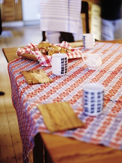 Stock Photo: 4400R-1863 A table ready laid, Sweden.