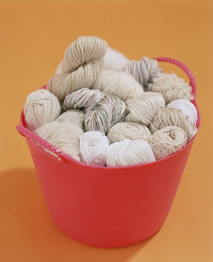 Yarn in a basket : Stock Photo