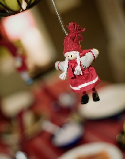 A swedish christmas decoration hanging on a string, Sweden. : Stock Photo