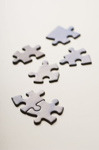 Stock Photo: 4400R-3535 Jigsaw pieces, close-up