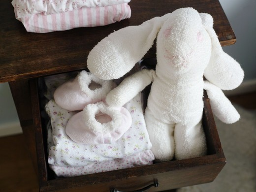 Stock Photo: 4400R-5562 A drawer with a toy rabbit, Sweden.