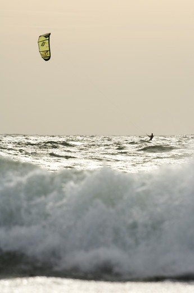 Stock Photo: 4401R-10001 A wet kitesurfer, Sweden.