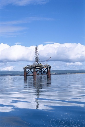 Stock Photo: 4401R-1008 An offshore oil platform.