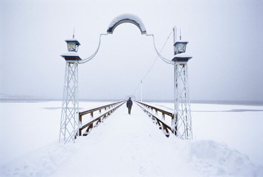 Stock Photo: 4401R-10428 Jetty covered in snow, Sweden.