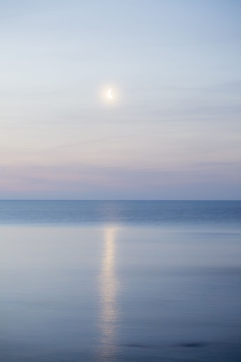 Stock Photo: 4401R-12207 Scandinavia, Sweden, Skane, View of sea with moon
