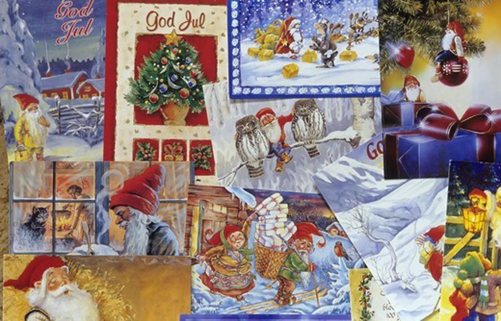 Scandinavia, Sweden, Vastergotland, View of Christmas cards, close-up : Stock Photo
