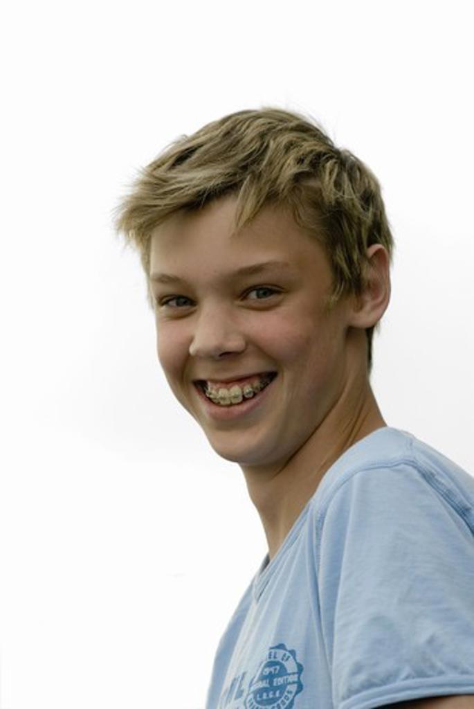 Portrait of a teenage boy, Sweden. : Stock Photo