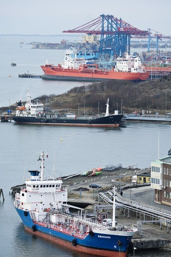 Stock Photo: 4401R-12628 View of harbour with ships