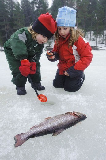 Stock Photo: 4401R-13491 Two children fishing in snow
