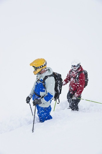 Stock Photo: 4401R-13821 Two skiers in deep snow