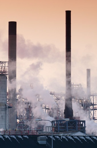 Smoke over refinery, Sweden. : Stock Photo