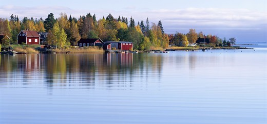 Stock Photo: 4401R-3442 Buildings by the Gulf of Bothnia, Sweden.