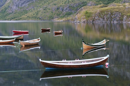 Rowing-boats in a calm sea, Lofoten, Norway. : Stock Photo