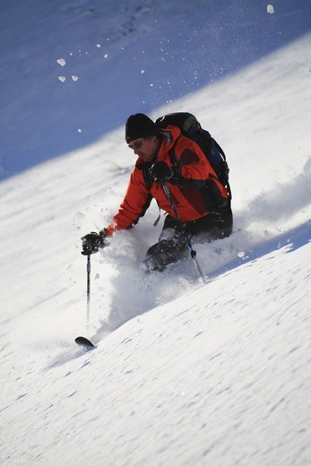 Stock Photo: 4401R-4166 Skier in the snow, telemark, Sweden.