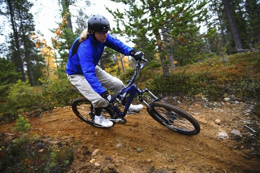 A mountainbike ride, Finland. : Stock Photo