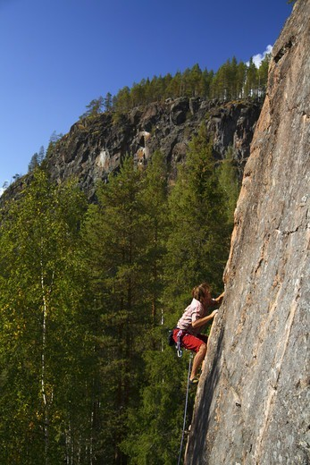 Stock Photo: 4401R-4434 Rock climbing, Norrbotten, Sweden.