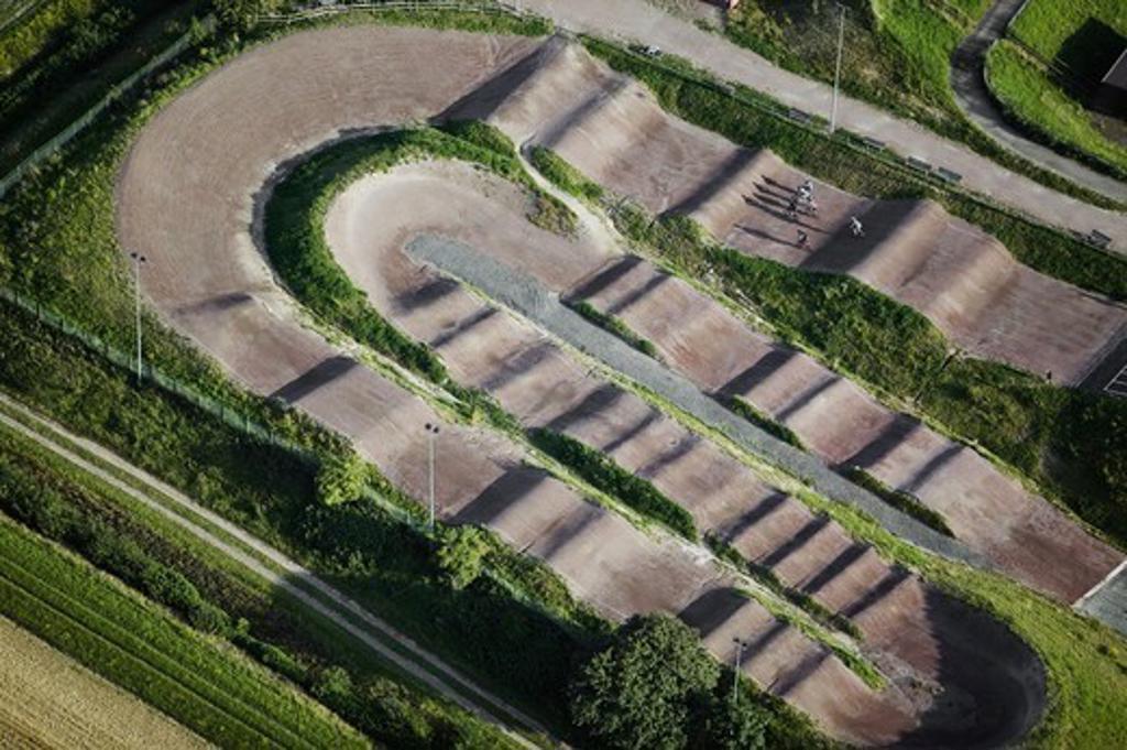 Stock Photo: 4401R-5266 BMX field aerial view, Skane, Sweden.