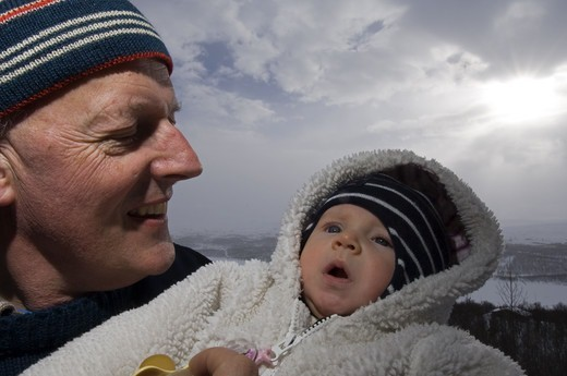 Stock Photo: 4401R-6003 A grandfather with his grandson, Sweden.
