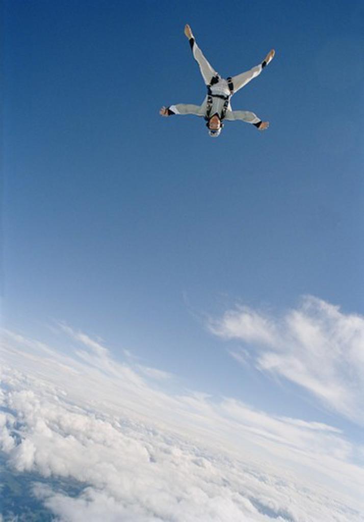 Parachute jumper, Sweden. : Stock Photo