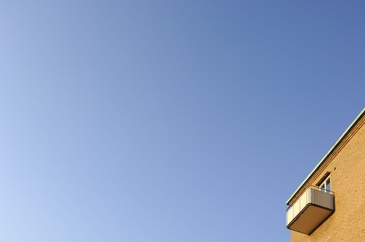 Stock Photo: 4401R-7470 A balcony and a blue sky, Sweden.