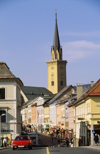 Stock Photo: 4401R-7952 View of market with church