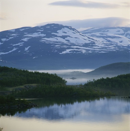Stock Photo: 4401R-9828 Lakes, Tornestrask, Lapland, Sweden.
