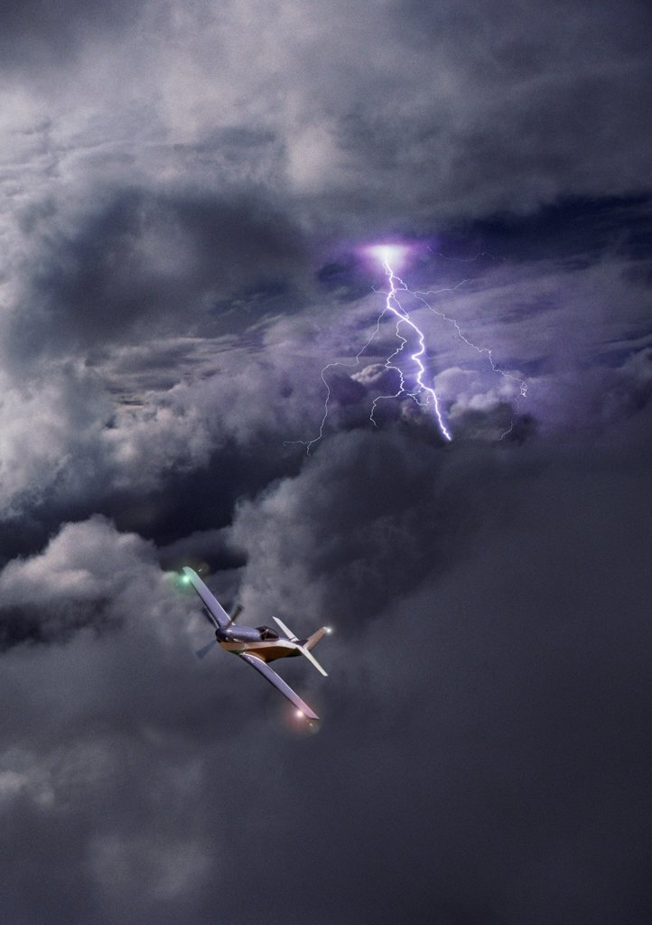 Aeroplane in storm (conceptual composite image) : Stock Photo
