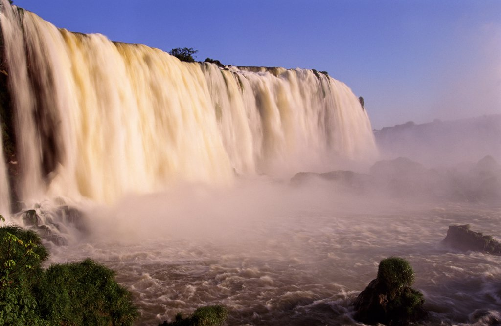 Iguazu Falls from Brazilian side, border Brazil and Argentina : Stock Photo