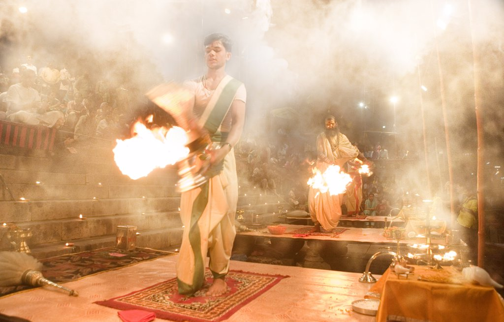 Stock Photo: 4402-2855 Hindu holy men performing religious ceremony (puja), Varanasi, India