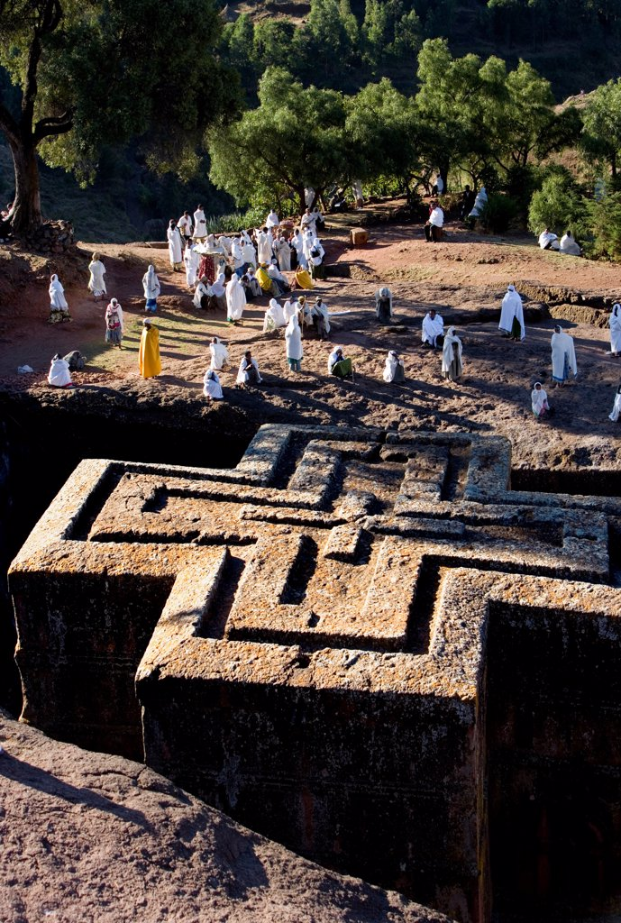 Stock Photo: 4402-3072 Ethiopian Orthodox sunken church of Bet Giorgis, hewn from rock in the 12th century. Ethiopia, Africa.
