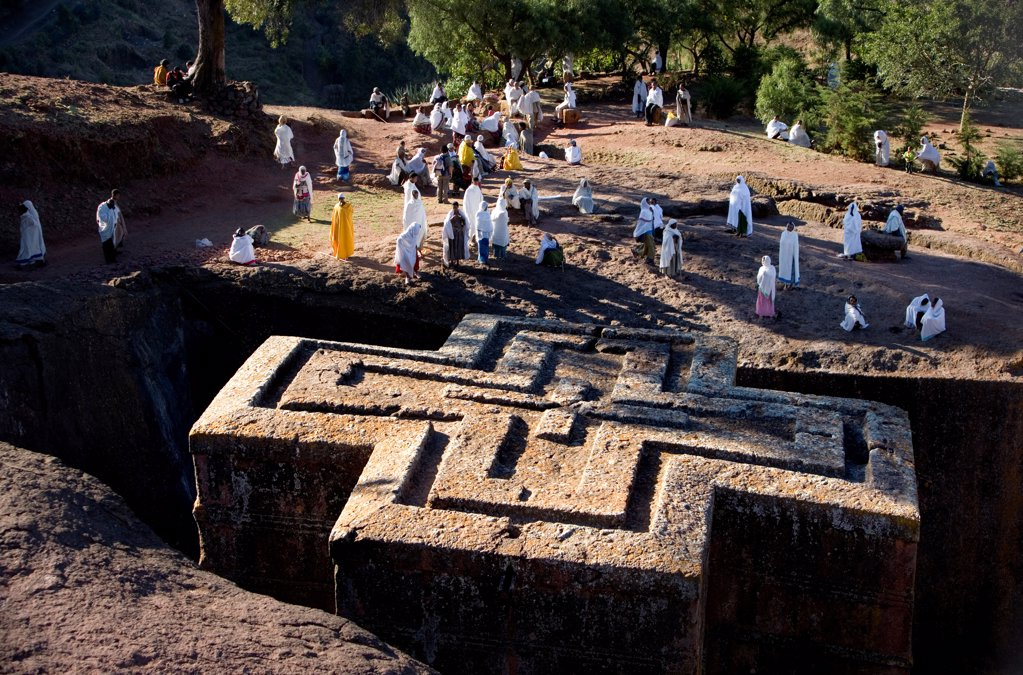 Stock Photo: 4402-3073 Ethiopian Orthodox sunken church of Bet Giorgis, hewn from rock in the 12th century. Ethiopia, Africa.