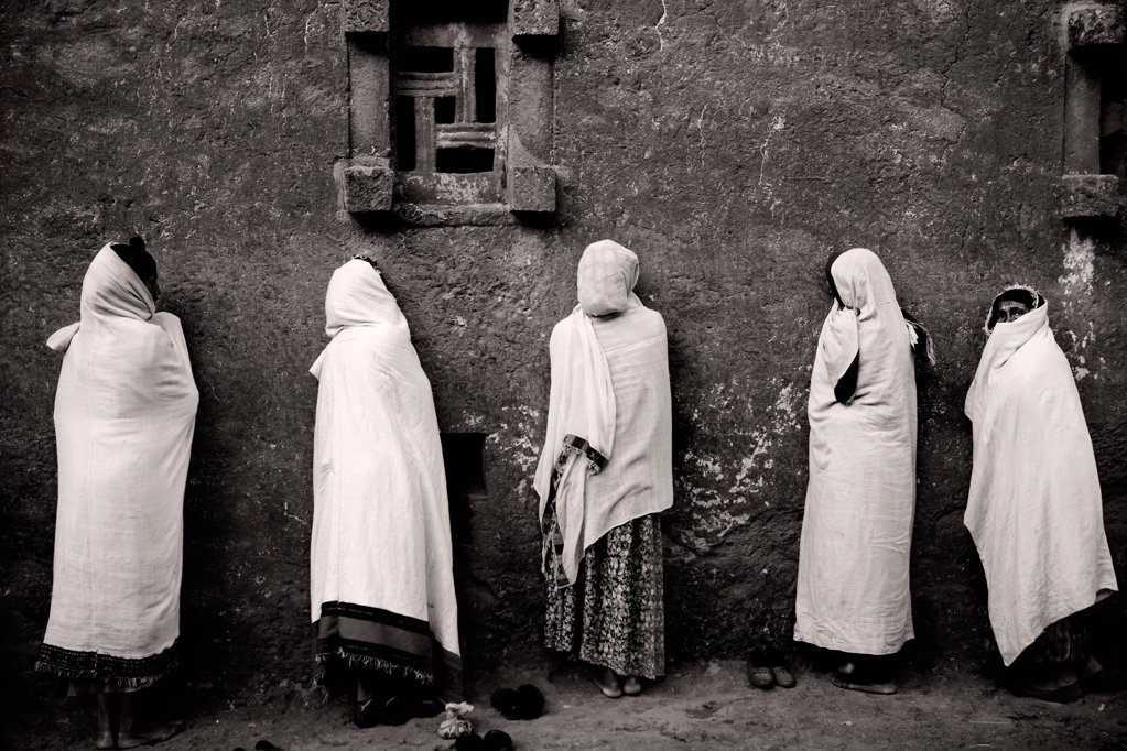 Pilgrims to the holy city of Lalibela, Ethiopia : Stock Photo