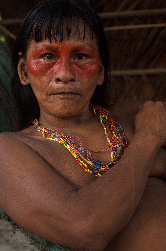 Stock Photo: 4402-4869 Huaorani Indians, Yasuni National Park, Amazon rainforest, Ecuador, South America.