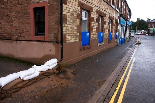Stock Photo: 4404-1076 UK, Appleby-in-Westmorland, Flood defenses in Appleby-in-Westmorland