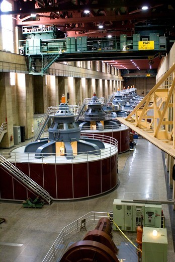 Stock Photo: 4404-1147 USA, Colorado, Hoover Dam generator hall showing seven generator sets