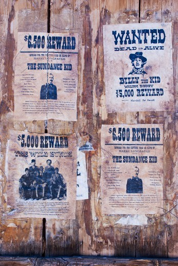 Stock Photo: 4404-1213 USA, Arizona, Tucson, Reward posters at Old Tucson Studios