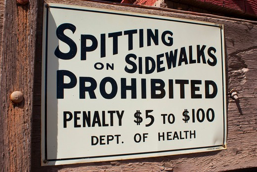 Stock Photo: 4404-1214 USA, Arizona, Tucson, Spitting Prohibited notice at Old Tucson Studios