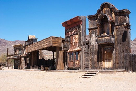 Stock Photo: 4404-1216 USA, Arizona, Tucson, Stage set at Old Tucson Studios