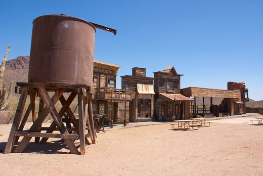 Stock Photo: 4404-1217 USA, Arizona, Tucson, Stage set at Old Tucson Studios