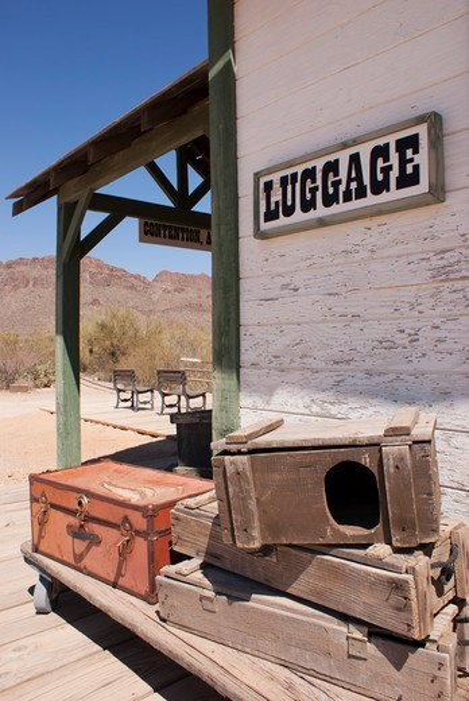 Stock Photo: 4404-1221 USA, Arizona, Tucson, Rail station luggage area at Old Tucson Studios