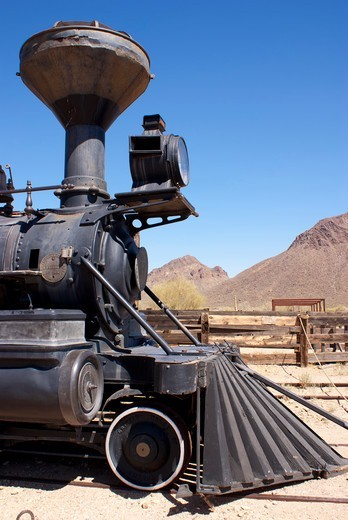 Stock Photo: 4404-1222 USA, Arizona, Tucson, Historic Reno steam locomotive at Old Tucson Studios