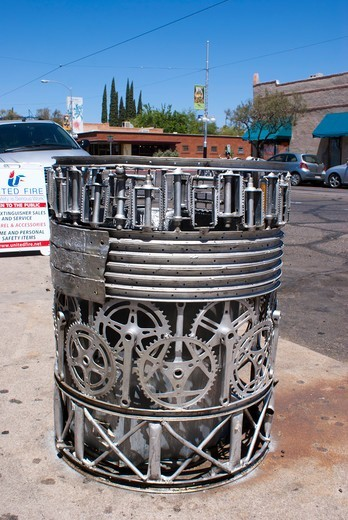 Stock Photo: 4404-1224 USA, Arizona, Tucson, Waste bin made from bicycle parts