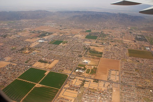 Stock Photo: 4404-1293 USA, Arizona, Phoenix, Aerial view of city suburb