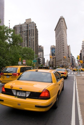 USA, New York State, New York City, Yellow taxi cabs : Stock Photo