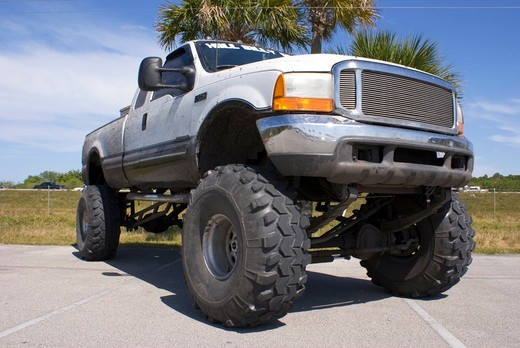 Stock Photo: 4404-1348 USA, Florida, Monster truck in parking lot